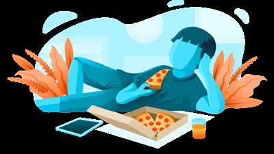 熱いピザを食べるタイミング…